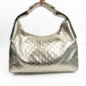 GUCCI Silver Metallic Horsebit Hobo Bag GG Logo